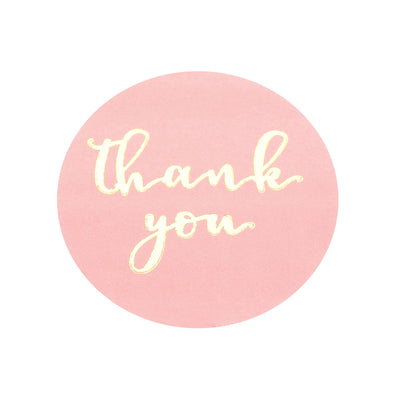 Round Thank You Stickers Roll with Gold Foil Text, Envelope Seal Labels - Rose Gold | Blush