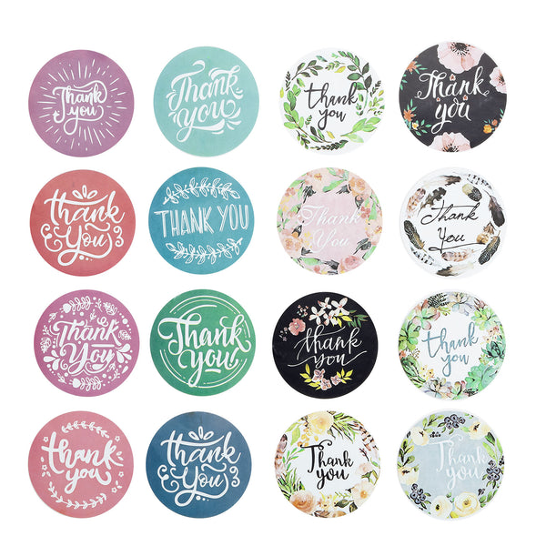 "2 Pack | 1000pcs 1.5"" Round Thank You Sticker Rolls With Assorted Style, DIY Envelope Seal Labels"