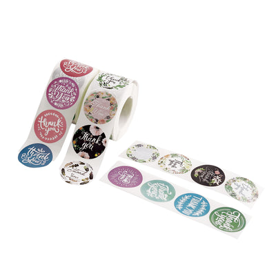 1000Pcs | 1.5 inch Round Assorted Style Thank You Stickers Roll, Envelope Seal Labels