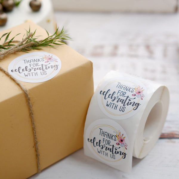 "500pcs | 2"" Thank You for celebrating with Us Stickers Roll, Wedding Favor Envelopes Seal"