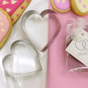 2 Pcs Heart Shaped Stainless Steel Cookie Cutter Set with Clear Gift Box