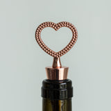 Blush | Rose Gold Metal Rhinestone Studded Heart Wine Bottle Stopper Wedding Favor With Velvet Gift Box