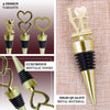 Gold Metal Rhinestone Studded Heart Wine Bottle Stopper Wedding Favor With Velvet Gift Box