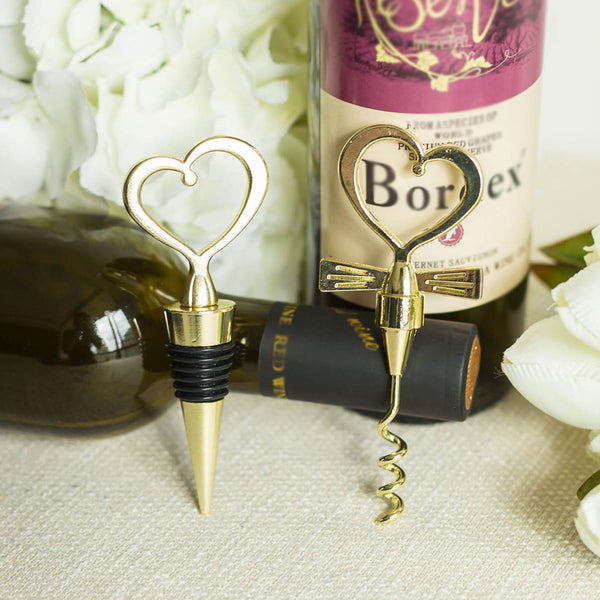 Gold Metal Heart Wine Bottle Opener and Stopper Wedding Favor Set With Velvet Gift Box - Clearance SALE