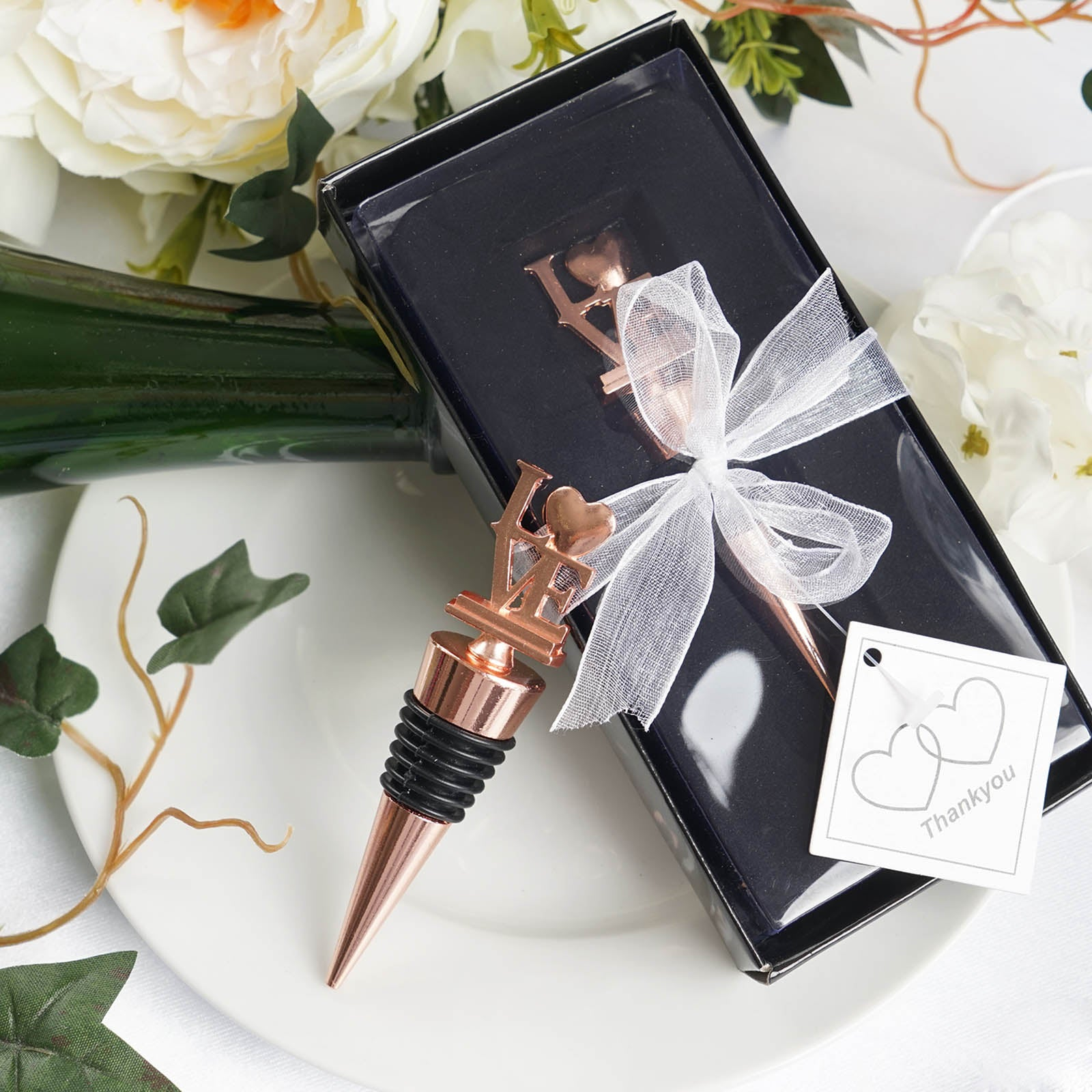 07ba341315 Rose Gold Metal Love Wine Bottle Stopper Wedding Favor With Velvet Gift Box