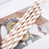 "25 Pack 8"" White/Rose Gold Striped Disposable Paper Straws"