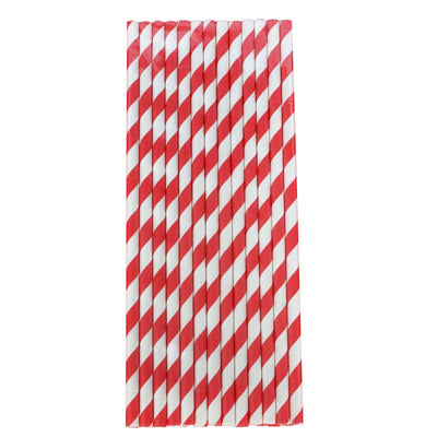 25 Pack White/Red Striped Disposable Paper Straws
