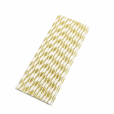 "25 Pack 8"" White/Gold Striped Disposable Paper Straws"