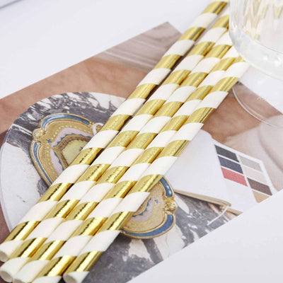 25 Pack White/Gold Striped Disposable Paper Straws