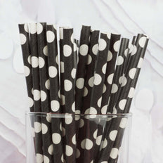 Polka Dotted Paper Straws 25/pk - White / Black