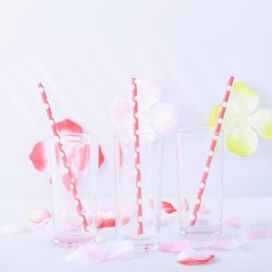 Polka Dotted Paper Straws 25/pk - White / Red