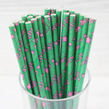 "25 Pack 8"" Green/Pink Shiny Star Birthday Party Quinceanera Disposable Paper Straws"
