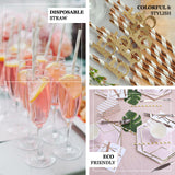 "25 Pack 8"" Green/Pink Shiny Star Birthday Party Quinceanera Disposable Paper Straws - Clearance SALE"