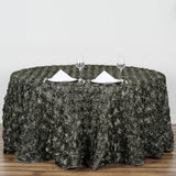132inch Charcoal Gray Grandiose Rosette 3D Satin Round Tablecloth