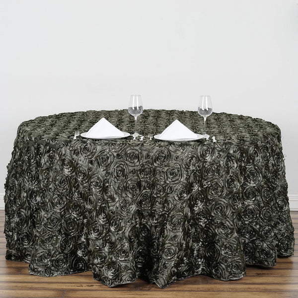"132"" Charcoal Gray Grandiose Rosette 3D Satin Round Tablecloth"