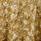 "132"" CHAMPAGNE Wholesale Grandiose Rosette 3D Satin Tablecloth For Wedding Party Event Decoration"