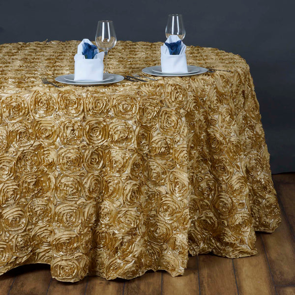 "132"" Champagne Grandiose Rosette 3D Satin Round Tablecloth"