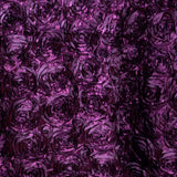 "132"" EGGPLANT Wholesale Grandiose Rosette 3D Satin Tablecloth For Wedding Party Event Decoration"