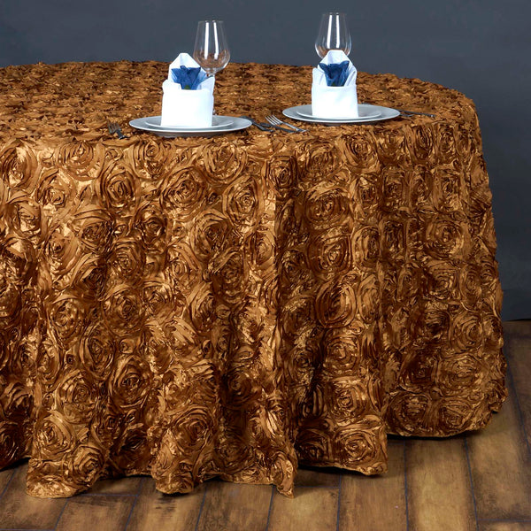 "132"" Gold Grandiose Rosette 3D Satin Round Tablecloth"