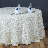 "132"" IVORY Wholesale Grandiose Rosette 3D Satin Tablecloth For Wedding Party Event Decoration"