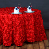 "132"" RED Wholesale Grandiose Rosette 3D Satin Tablecloth For Wedding Party Event Decoration"
