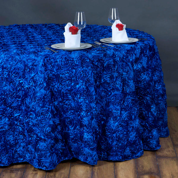 "132"" Royal Blue Grandiose Rosette 3D Satin Round Tablecloth"
