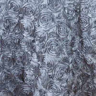 "132"" SILVER Wholesale Grandiose Rosette 3D Satin Tablecloth For Wedding Party Event Decoration"