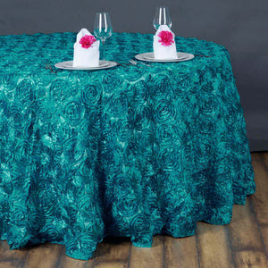 "132"" TURQUOISE Wholesale Grandiose Rosette 3D Satin Tablecloth For Wedding Party Event Decoration"