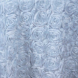 132inch White Grandiose Rosette 3D Satin Round Tablecloth#whtbkgd