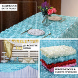 "90"" x 132"" Champagne Grandiose Rosette 3D Satin Rectangle Tablecloth"