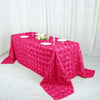 "90""x132"" FUSHIA Wholesale Grandiose Rosette 3D Satin Tablecloth For Wedding Party Event Decoration"