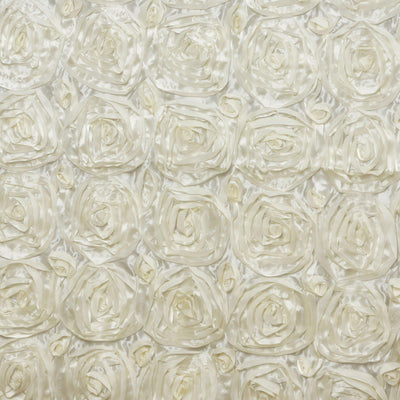 "90""x132"" IVORY Wholesale Grandiose Rosette 3D Satin Tablecloth For Wedding Party Event Decoration"