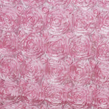 "90""x132"" PINK Wholesale Grandiose Rosette 3D Satin Tablecloth For Wedding Party Event Decoration"