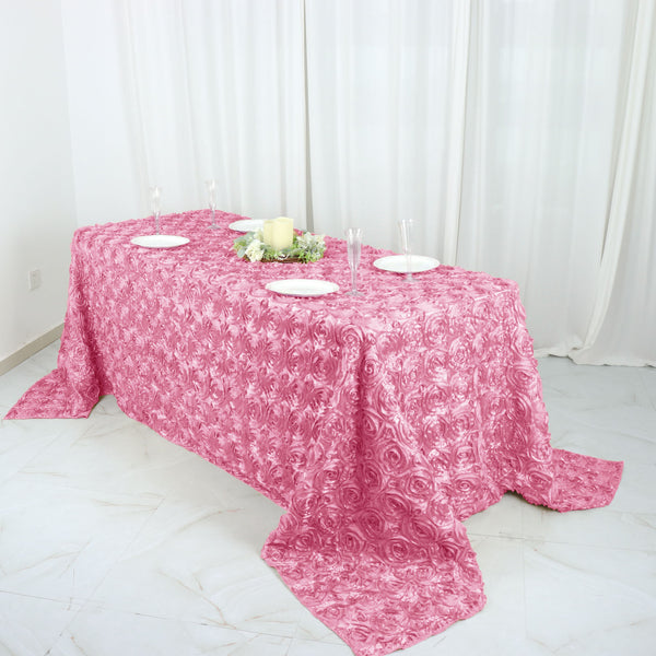 "90"" x 132"" Pink Grandiose Rosette 3D Satin Rectangle Tablecloth"
