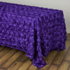 "90""x132"" PURPLE Wholesale Grandiose Rosette 3D Satin Tablecloth For Wedding Party Event Decoration"