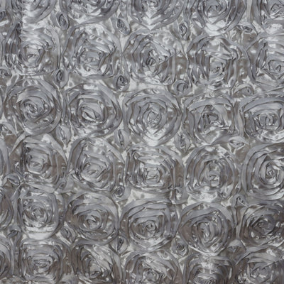 "90""x132"" SILVER Wholesale Grandiose Rosette 3D Satin Tablecloth For Wedding Party Event Decoration"