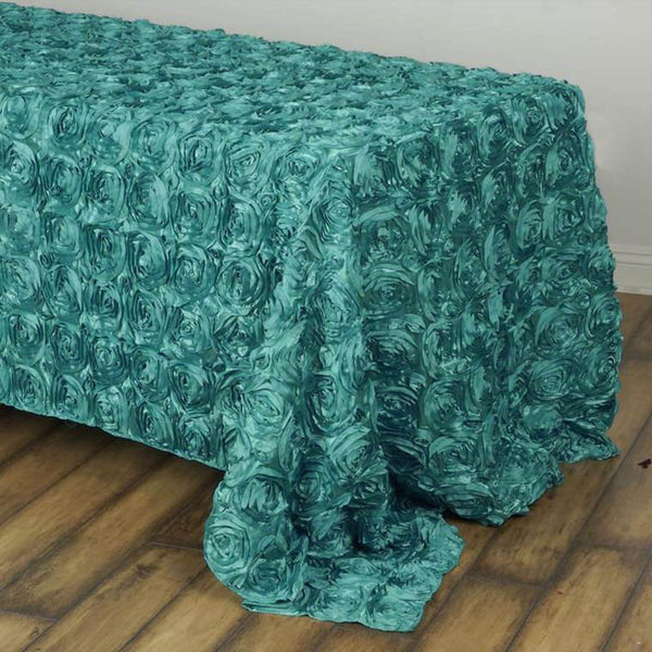 "90"" x 132"" Turquoise Grandiose Rosette 3D Satin Rectangle Tablecloth"