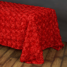 "90""x156"" RED Wholesale Grandiose Rosette 3D Satin Tablecloth For Wedding Party Event Decoration"