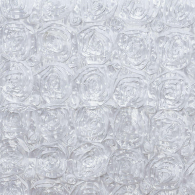 "90""x156"" WHITE Wholesale Grandiose Rosette 3D Satin Tablecloth For Wedding Party Event Decoration"