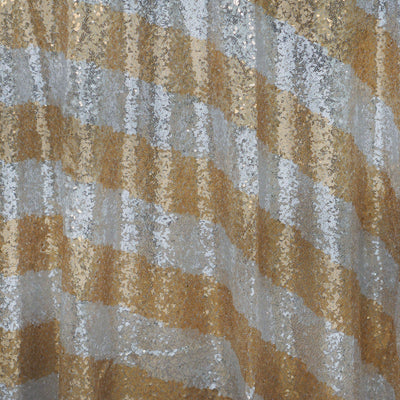 "120"" Premium Stripe SEQUIN Round Tablecloth For Wedding Banquet Party - White / Gold"