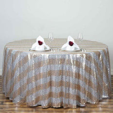 "120"" Silver/Gold Premium Sequin Round Tablecloth Stripe"