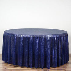"108"" Navy Premium Sequin Round Tablecloth"