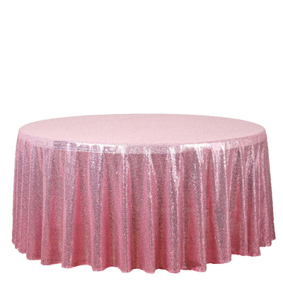 "108"" Pink Premium Sequin Round Tablecloth"