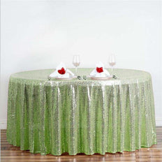 "108"" Tea Green Premium Sequin Round Tablecloth"