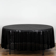 "108"" Wholesale Premium Black Sequin Round Tablecloth For Wedding Banquet Party"