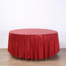 "108"" Red Premium Sequin Round Tablecloth"