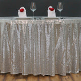 "108"" Wholesale Premium SEQUIN Round Tablecloth For Wedding Banquet Party - Silver"