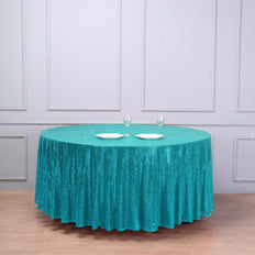 "108"" Turquoise Premium Sequin Round Tablecloth"
