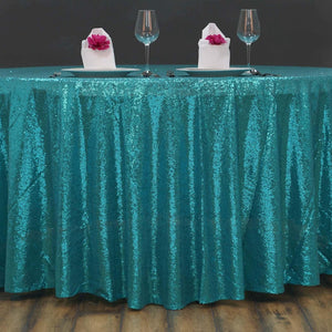 "108"" Wholesale Premium Turquoise Sequin Round Tablecloth For Wedding Banquet Party"