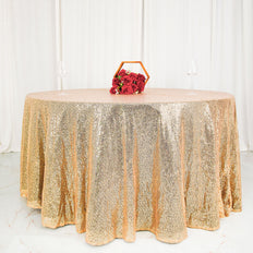 "120"" Wholesale Premium SEQUIN Round Tablecloth For Wedding Banquet Party - Champagne"